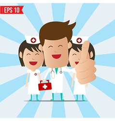 Cartoon doctor and nurse smile and show thumb up - vector