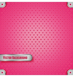 Pink metal texture with heart vector