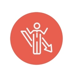 Man with arrow down vector