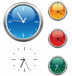 Office clocks in different colors vector
