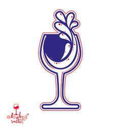Goblet alcohol drink theme elegant wine vector