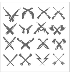 Crossed weapons collection in white vector