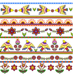 Seamless pattern with birds and flowers Floral vector image