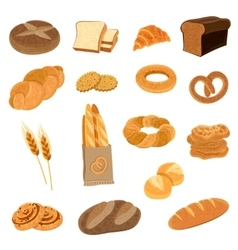 Fresh bread flat icons set vector