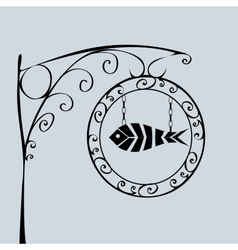 Street sign fish shop vector