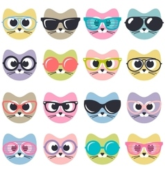 Set of cute cats with sunglasses vector