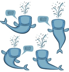 Animated whale set vector