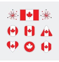 Canadian flag different shapes emblems set vector