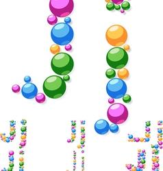 Alphabet symbols of colorful bubbles or balls vector image