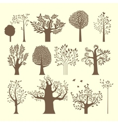 Brown trees set vector