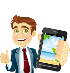 Businessman shows a photo resort on the phone vector image
