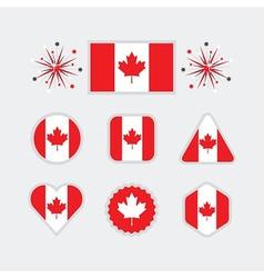 Canadian flag different shapes emblems set vector
