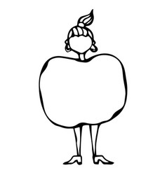 Caricature apple female body shape sketch hand vector
