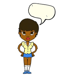 Cartoon annoyed girl with speech bubble vector