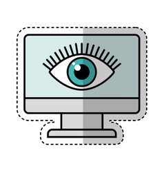 Computer monitor with eye isolated icon vector
