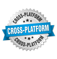 Cross-platform round isolated silver badge vector