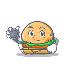 Doctor burger character fast food vector