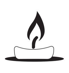 Flat black candle icon vector