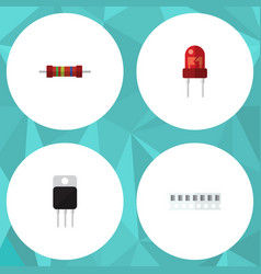 Flat icon electronics set of recipient resistance vector