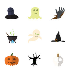 flat icon halloween set of witch cap gourd tomb vector image vector image