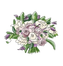 Floral wedding bouquet sketch for your design vector image