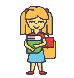 Girl in primary or elementary school with book and vector