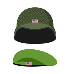 Green beret army helmet military set of headgear vector