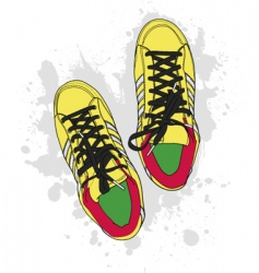 grunge shoes vector image vector image
