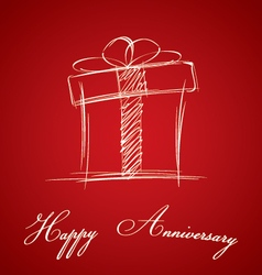 Happy anniversary and gift box on red background vector