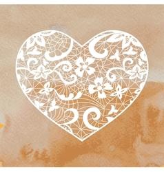 Heart applique on watercolour background vector
