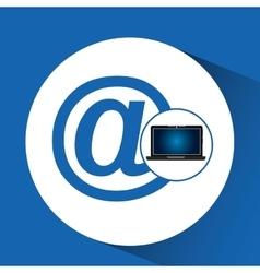 Laptop blue display mail social media vector