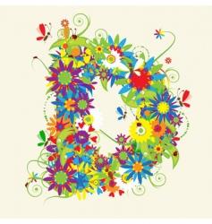 letter D floral design vector image vector image