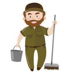 Male janitor with water bucket and broom vector