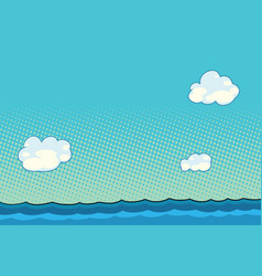 Marine landscape with sea and clouds vector