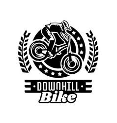 Monochrome logo mountain bike racer downhill vector