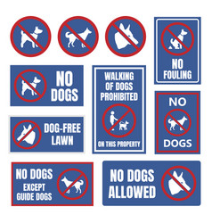 no dogs allowed labels dog restriction signs vector image vector image
