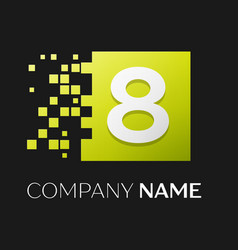 Number eight logo symbol in the colorful square vector