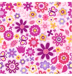 seamless flower colour pattern vector image vector image