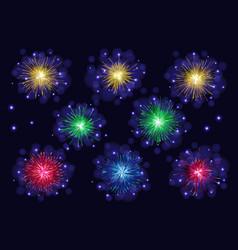 Set of multicolored sparkling fireworks vector