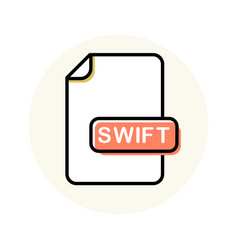 Swift file format extension color line icon vector