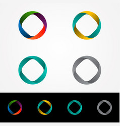 Technology orbit web rings logo design vector