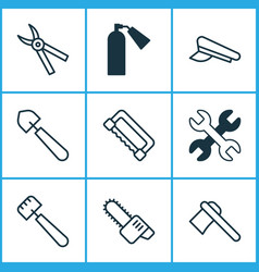 Tools icons set collection of scoop firefighter vector