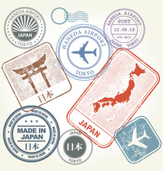travel stamps set japan and tokyo theme vector image vector image