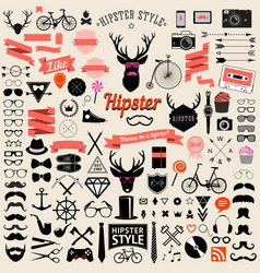 vintage styled design hipster icons vector image