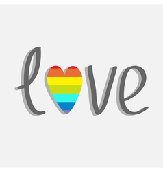 Word love with rainbow heart Flat design vector image vector image