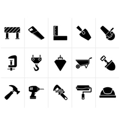 Black construction industry and tools icons vector