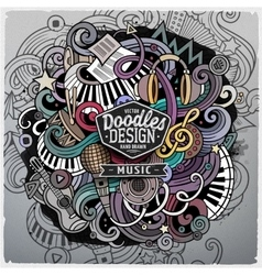 Cartoon cute doodles hand drawn music vector