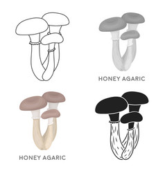 honey agaric icon in cartoon style isolated on vector image