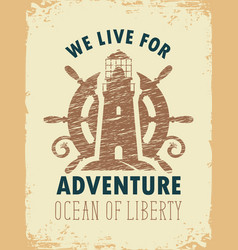 Travel banner with lighthouse and ships helm vector