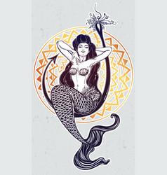 Mermaid girl sitting on fishing hook artwork vector